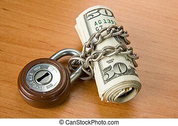 locked money with a padlock