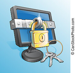 Abstract Of A Locked Monitor With Pad Lock and Keys