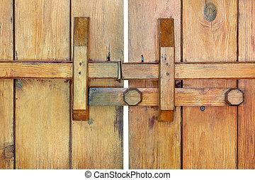 Locked old wooden door background