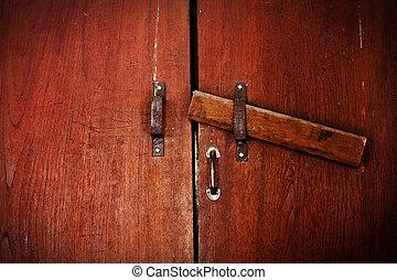 locked old wooden door