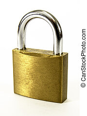 Locked padlock - closeup of a locked padlock on white ...