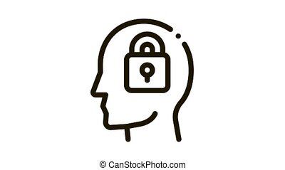 Locked Padlock In Man Silhouette Mind animated black icon on white background