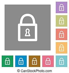 Locked padlock square flat icons