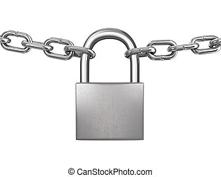 Locked padlock with silver chains isolated on white background