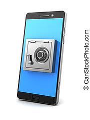 locked phone - 3d illustration of mobile phone safe locked