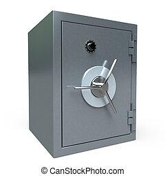 locked Safe - 3D rendering of a locked safe deposit box