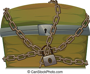 Locked Treasure Chest - Illustration of a Treasure Chest...