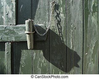 locked - wooden lock at a farm building