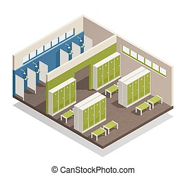 Locker Dressing Room Isometric Composition