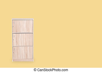 Locker isolated on yellow background and space for copy.