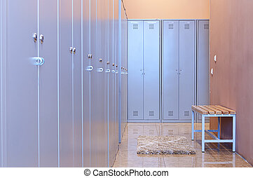 Locker Room - Gym dressing room with lots of lockers