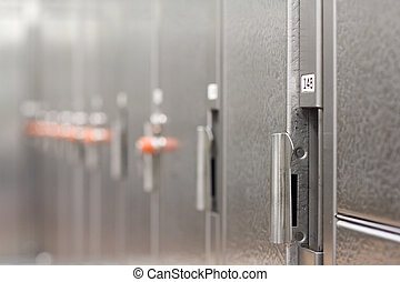 Locker room in a gym, shallow depth of field