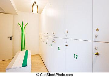 Locker room - Inside view of a locker room at the gym