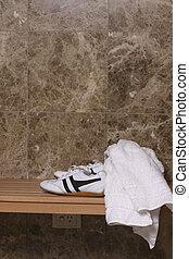 Locker room - shoes and towel in locker room