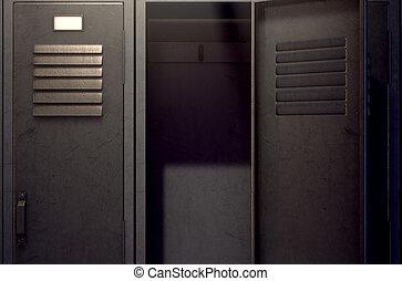 Locker Row And Open Door
