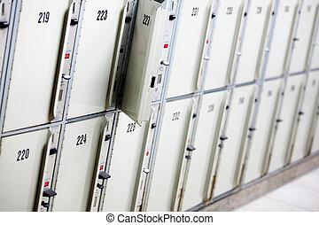 Lockers cabinets in a locker room
