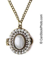 Locket - Vintage pearl locker isolated on white