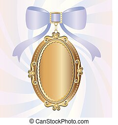 on an abstract background of a big gold locket, decorated with large lilac bow