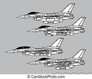 Lockheed Martin F-16 Fighting Falcon. Outline vector drawing...