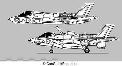 Lockheed Martin F-35B Lightning II. Outline vector drawing