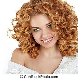 lockig, hair., m�dchen, freigestellt, weiß rot, lächeln, ...