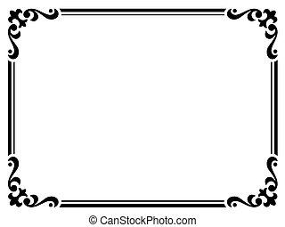 lockig, rahmen, schwarz, kalligraphie, barock, kalligraphie