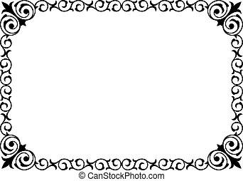 lockig, ram, svart, skrivkonst, barock, kalligrafi