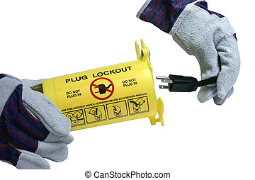 lockout container - gloved hands putting an electrical plug...