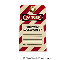lockout tag isolated on white
