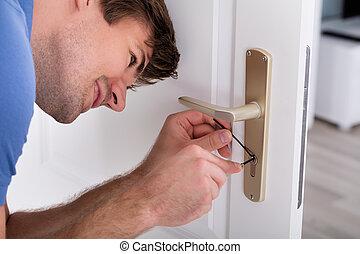 lockpicker, fixa, dörr hantera, hemma