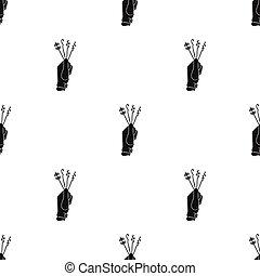 lockpicks, estilo, illustration., patrón, aislado, crimen, fondo., vector, negro, blanco, icono, acción
