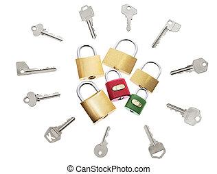 Locks and Keys on Isolated White Background