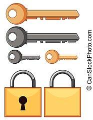 Locks and keys on white background