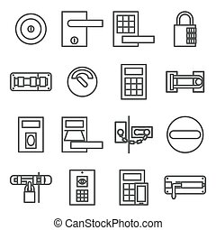 Locks door  icon set