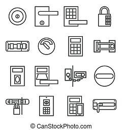 Locks door icon set