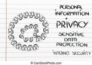 locks:, fait, confidentiel, symbole, sécurité internet, email