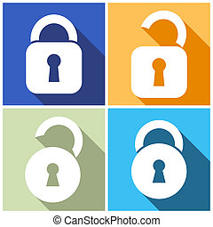 Locks icons - Four vector open and closed locks flat design