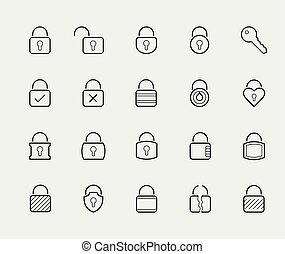 Locks vector icon set in thin line style