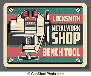 Locksmith and metalworking bench vice tool