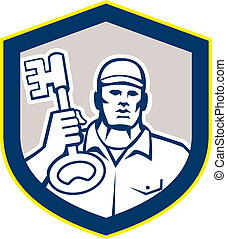 Locksmith Carry Key Shield Retro