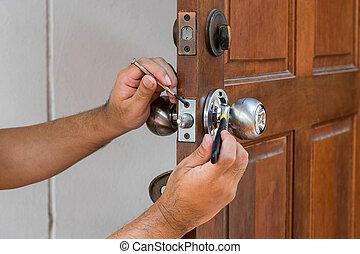 locksmith have to fix silver knob - wood door and locksmith...