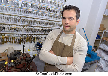 locksmith in his shop