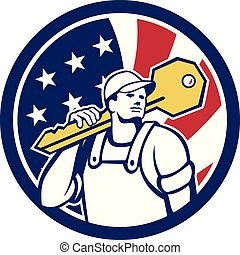 locksmith-key-shoulder-CIRC USA-FLAG-ICON - Icon retro style...