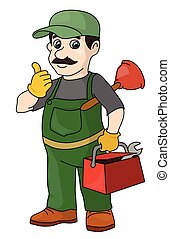 Locksmith - The mustachioed plumber with tools. A locksmith.