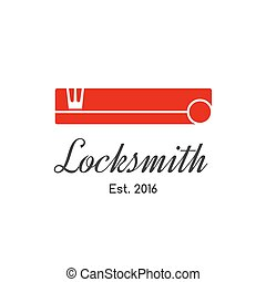 Locksmith vector logo, icon with classic key