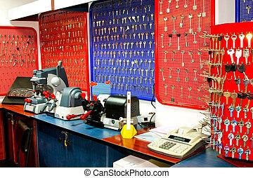 Locksmith work - Interior of locksmith work place with bench...