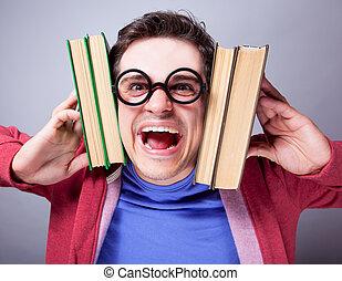 loco, books., estudiante