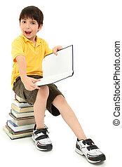 loco, caras, escolar, niño, con, libros