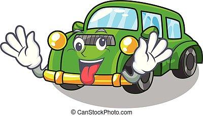 loco, coche clásico, forma, juguetes, caricatura