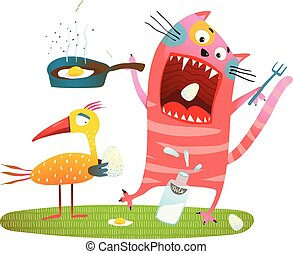 loco, comida, gato, diversión, pájaro, huevos